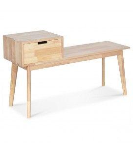Banc d'entrée avec rangement bois clair naturel Hevy -