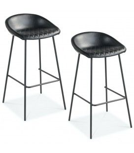Chaise de bar Lucky pieds noirs simili noir - Lot de 2 -