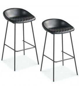 Chaise de bar Lucky pieds noirs simili noir - Lot de 2