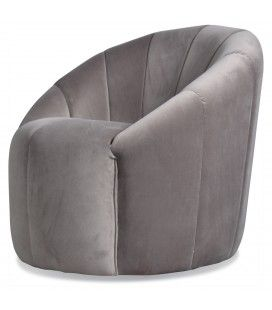 Fauteuil rétro coquille velours gris taupe Sonia
