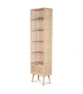 Etagère meuble rangement rotin naturel tissé 180cm