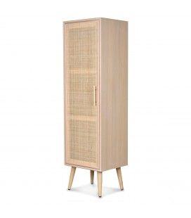 Petit meuble de rangement bois et rotin 40 x 140cm -