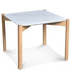Table basse chêne naturel plateau effet marbre 50cm -