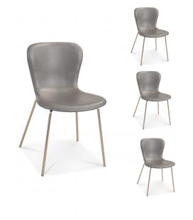 Chaise Adele pieds satinés tissu façon cuir gris - Set de 4 -