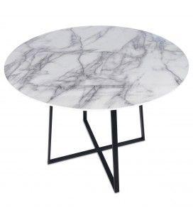 Table ronde style marbre et pieds en métal noir Francky