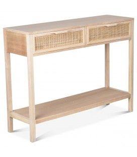Console meuble bois 2 tiroirs cannage Juju 100cm