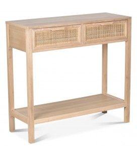Console meuble bois 2 tiroirs cannage Juju 80cm