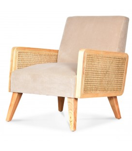 Fauteuil velours écru naturel cannage naturel HANOI