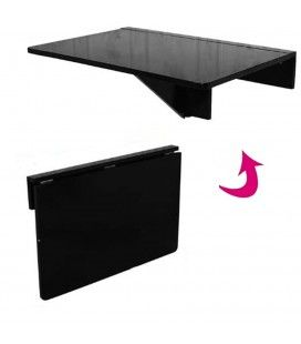 Table murale pliable bureau rabattable 60x40cm noire Worky