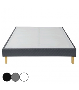 Sommier tapissier simple ou double cuir blanc gris noir SOMY