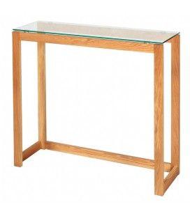 Console bois massif et verre trempé 100cm Nordia