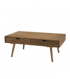 Table basse bois massif sapin 4 tiroirs Anak