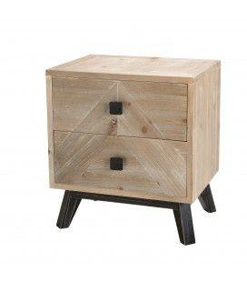 Chevet bois clair 2 tiroirs Revan