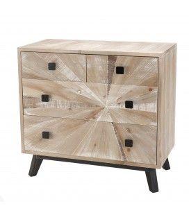 Commode bois clair 4 tiroirs Revan