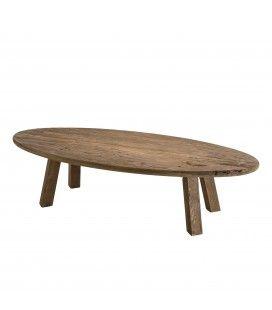 Table basse ovale bois massif de pin recyclé Bastila