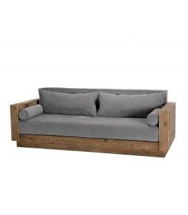 Canapé bois massif et tissu gris 3 places Bastila