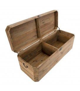 Coffre rangement bois Pin recyclé 130cm Bastila