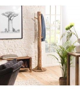 Porte-manteau bois massif de pin recyclé Bastila