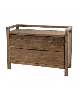 Commode 2 tiroirs bois massif de pin recyclé Bastila