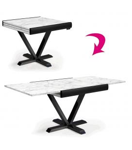 Table carrée extensible effet marbre blanc rallonge intégrée NewAge