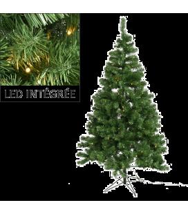 Sapin de Noël anti-feu avec guirlande intégrée LED 150cm