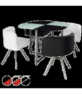 Table et chaises encastrables verre et cuir bicolore - 5 coloris