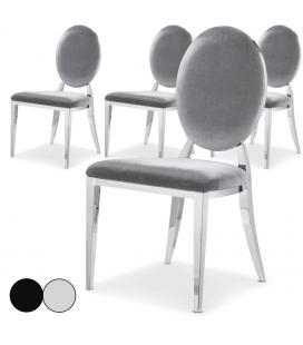 Lot de 4 chaises médaillon velours argent ou noir