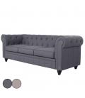 Canapé Chesterfield en tissu effet lin 3 places - 5 coloris -