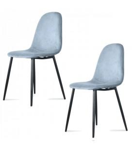 Chaise Josef pieds noirs velours bleu glacier - Set de 2
