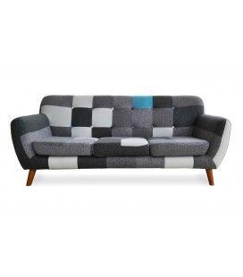 Canapé 3 places Patchwork gris noir style scandinave capitonné