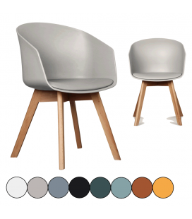 Chaise scandinave enveloppante avec coussin - Lot de 2