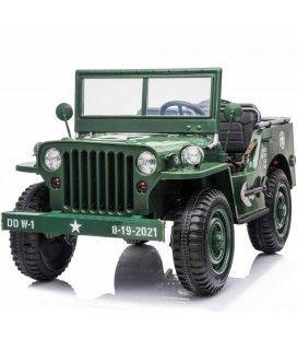 Voiture électrique enfant 3 places mini Jeep Willys verte 12v