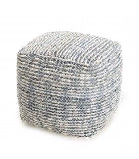 Pouf carré coton et laine bleu et blanc 40cm SANCHO