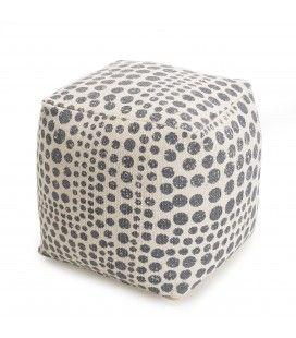 Pouf carré tissu coton imprimé pois gris 40cm SANCHO