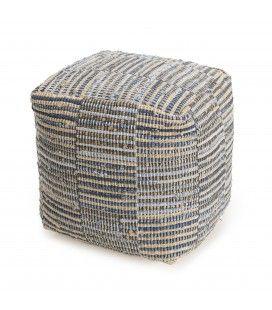 Pouf carré chanvre et coton bleu et naturel SANCHO