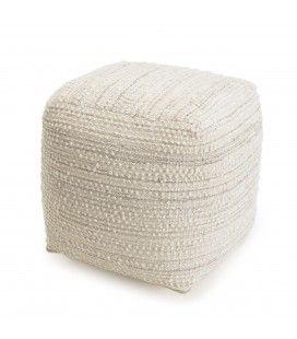 Pouf carré tissu polyester ivoire 40cm SANCHO