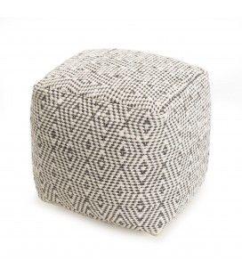Pouf carré en laine Harry losanges gris et ivoire 40cm SANCHO