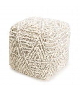 Pouf carré en laine Fanny chevrons ivoire 40cm SANCHO