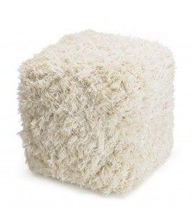Pouf carré en laine doudou ivoire 40cm SANCHO