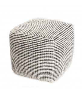 Pouf carré en laine Oslo noir et ivoire 40cm SANCHO