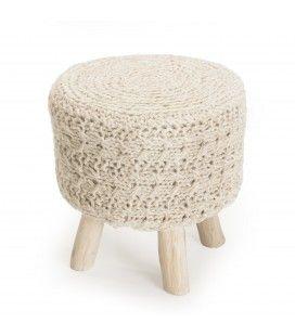 Tabouret rond bois et laine tricot ivoire 40cm SANCHO