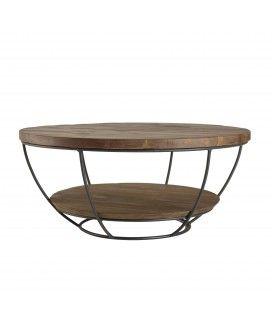 Table basse coque noire double plateau 80 x 80 cm bois Teck recyclé et métal SULA