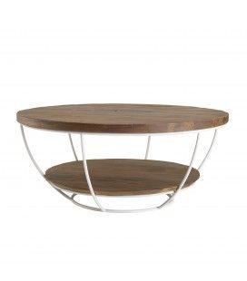Table basse coque blanche double plateau 80 x 80 cm bois Teck recyclé et métal SULA