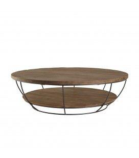 Table basse coque noire double plateau 120 x 120 cm bois Teck recyclé et métal SULA