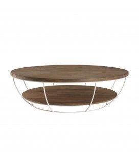 Table basse coque blanche double plateau 120 x 120 cm bois Teck recyclé et métal SULA
