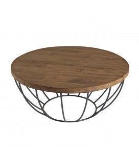 Table basse coque noire 80cm bois Teck recyclé et métal SULA