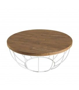 Table basse coque blanche 80cm bois Teck recyclé et métal SULA