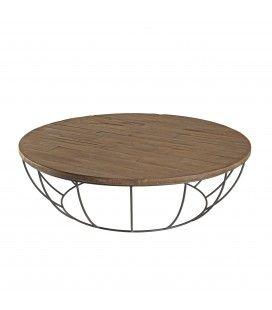 Table basse 120cm bois Teck massif et coque noire métal SULA