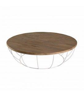 Table basse 120cm bois Teck massif et coque blanche métal SULA