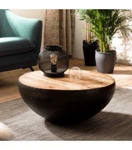 Table basse ronde 70cm bois de Manguier massif et métal ROMAO